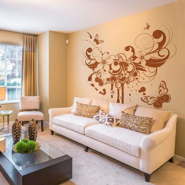 Vinilo decorativo moderno mo120 de estilo floral for Vinilos para dormitorios modernos
