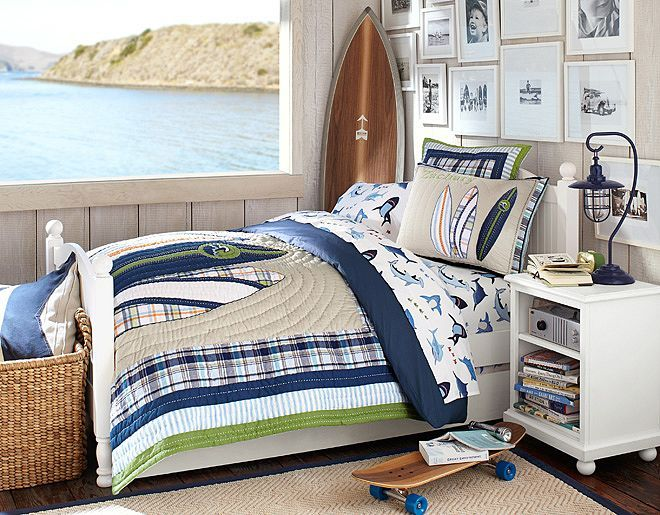 I love the Pottery Barn Kids North Shore on potterybarnkids.com Love the surf theme and the picture arrangement