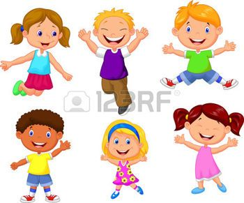 niños felices caricatura: Felices los niños de dibujos animados Vectores