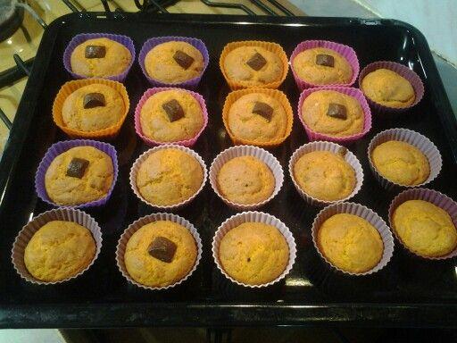 Muffins alla zucca e cioccolato