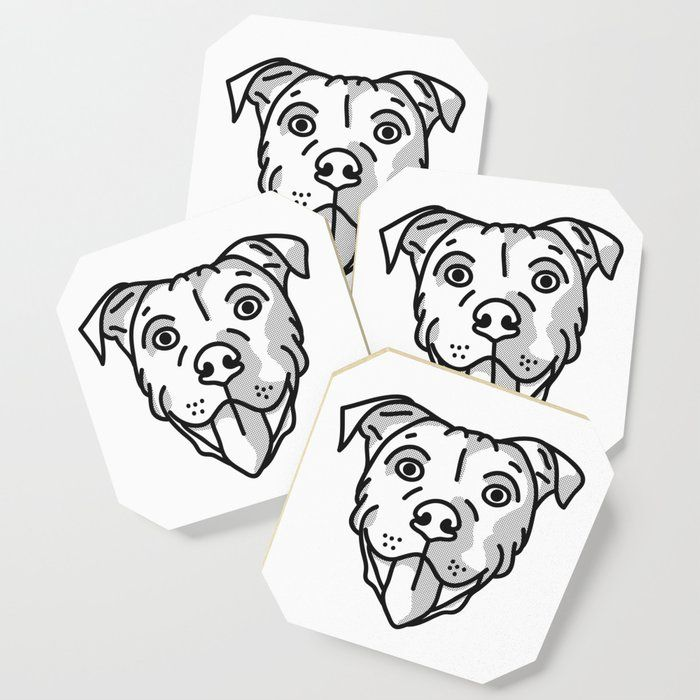 Staffordshire Bull Terrier Dog Black /& White Set of 4 Coasters