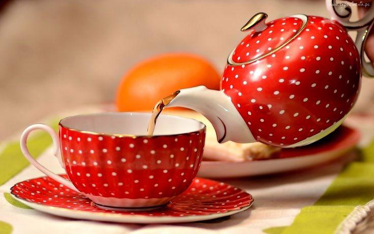 Herbata, Czerwony, Imbryk, Filiżanka, Talerzyk