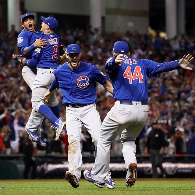 The Chicago Cubs celebrate after defeating the Cleveland Indians 8-7 in Game 7 to win baseball's 2016 World Series at Progressive Field on Nov. 3, 2016 in Cleveland.  It was the Cubs' first appearance in a World Series in 71 years, and their first title since 1908 – a year when construction on the Titanic had not even begun. As Javier Báez and Addison Russell jumped in the air at the end of 10 grueling innings, millions of Cubs fans were rejoicing the end of baseball longest drought. The…