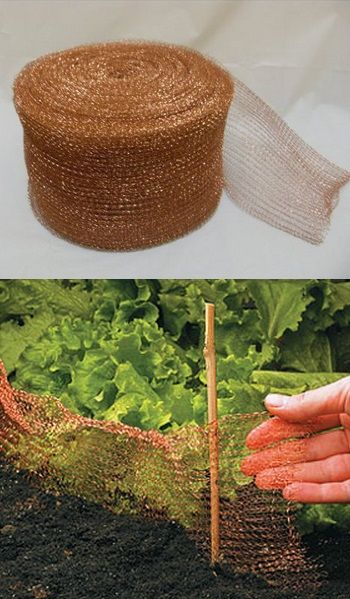 Placed around gardens, this pure copper wire mesh repels snails and slugs, because they don't like touching copper. It can also be cut to length to stuff in cracks, gaps or other small openings in buildings to block birds or rodents or other animals.