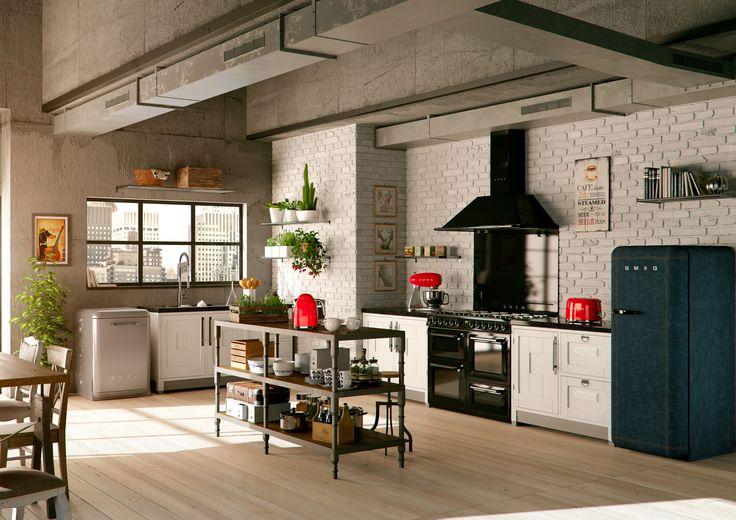 Kücheneinrichtung mit Victoria Kochzentrum, Retro Kühlschrank, Geschirr-Spülmaschine und Kleinen Haushaltsgeräten von SMEG. Mehr Details und viele weitere Farbkombinationen auf www.smeg.de