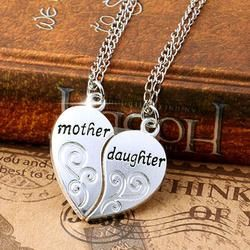 2 Pcs/Set Silver Mom Mother & Daughter Love Heart Pendant Charm Chain Necklace