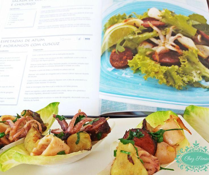 Receita recriada pela blogger Chez Sónia, natural dos Açores. Salada de Lulas com Chouriço!