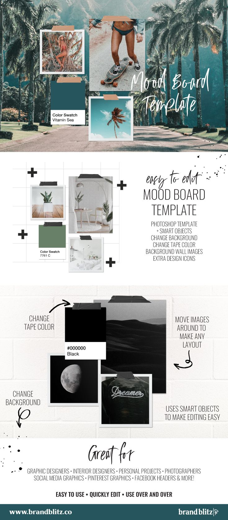 Mood Board Pack By Am Studio On Creativemarket Mood Board Design Mood Board Layout Mood Board Template