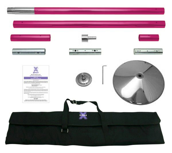"""The No1 professional grade exercise/dance pole on the market! There is no other pole that is both stationary & spinning, bottom-loading that features the revolutionary X-Joint! With the X-Pert´s unique adjuster system, you can expand and fully lock the pole in position without ever leaving the ground. The X-Pert contains all the parts needed for ceiling heights of 7ft 4in to 9ft. 45mm (1.58""""), Multi-piece dance pole, mild steel with a powder coated finish, maximum grip."""