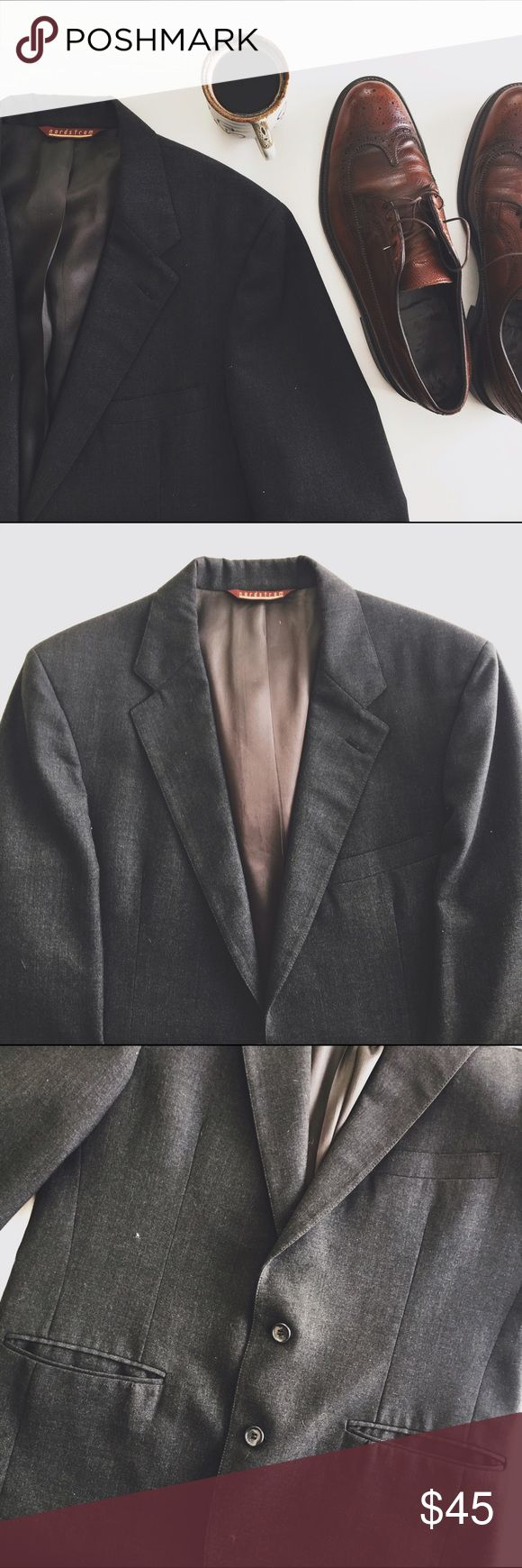 Nordstrom gray suit jacket Nordstrom suit jacket in dark/charcoal gray, in like-new condition. Features two buttons, two pockets, and silky interior. No size given, but I'd say it's a men's medium...ask for additional measurements Nordstrom Suits & Blazers Suits