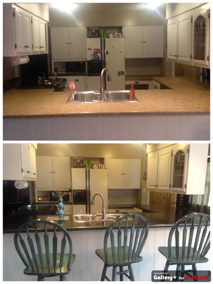 spray painted counter top before and after