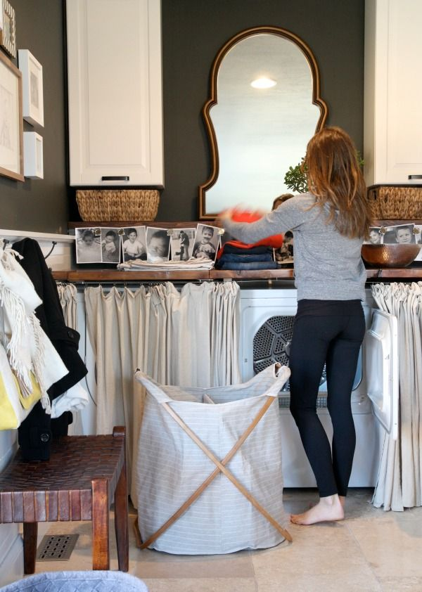 Bamboo Laundry Hamper from west elm —in the home of Dana of House Tweaking