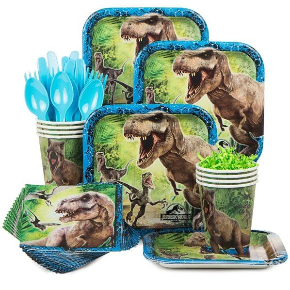 Check out Jurassic World Standard Birthday Party Tableware Kit Serves 8- BirthdayInaBox.com from Birthday In A Box