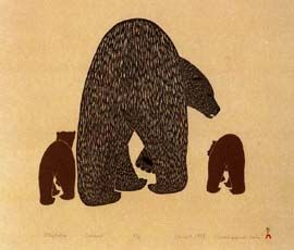 Attiqtaliq (Bear with Cubs), by Kananginak Pootoogook (Inuit artist), Cape Dorset -- Stonecut and stencil