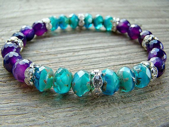 Stretch Bracelet, Capri Blue, Czech Glass Bead, Purple Agate Gemstone and Clear Crystal Rhinestone Stacking Bracelet, Beaded Jewelry by BeJeweledByCandi, $38.00