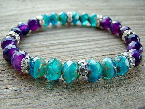 Stretch Bracelet, Capri Blue, Czech Glass Bead, Purple Agate Gemstone and Clear Crystal Rhinestone Stacking Bracelet, Beaded Jewelry by BeJeweledByCandi, $38.00