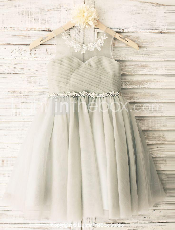 Princess Grey Beaded Sash Knee-length Flower Girl Dress - Tulle Sleeveless 2015 – $50.59