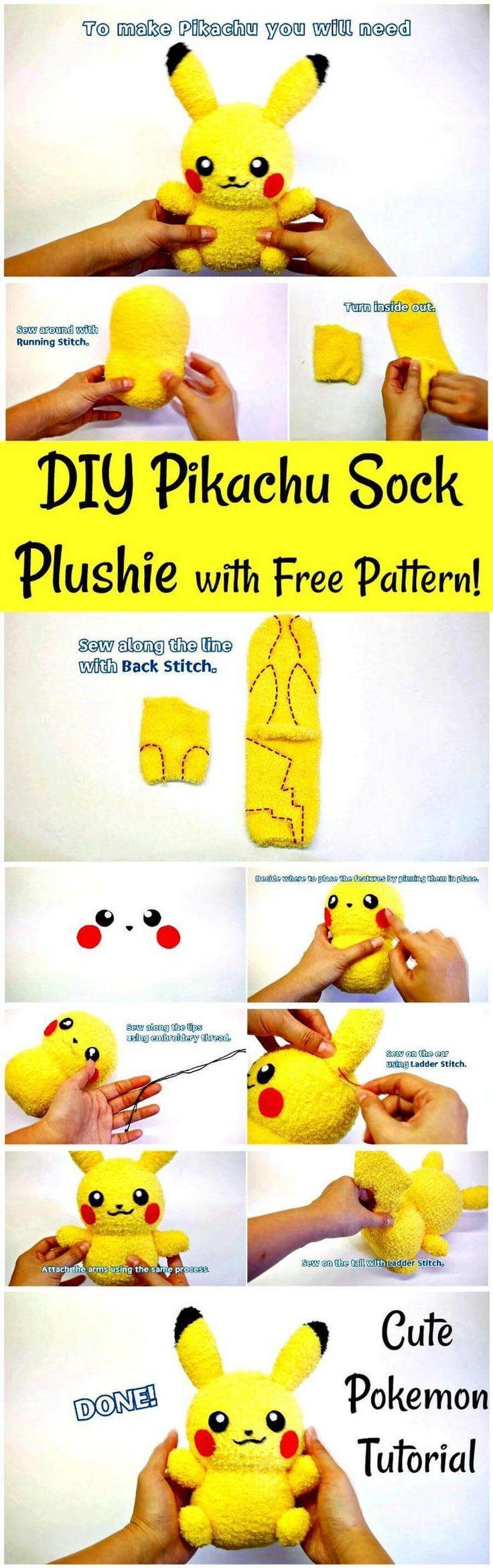 DIY Pikachu Sock Plushie mit kostenlosem Muster! DIY-Pokemon-Tutorial