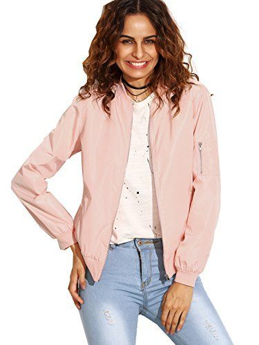 New Trending Outerwear: ROMWE Womens Classic Zipper Short Bomber Jacket Coat Pink S. ROMWE Women's Classic Zipper Short Bomber Jacket Coat Pink S  Special Offer: $24.99  133 Reviews Size Chart: Small: Length: 22.8 inch, Sleeve Length: 23.4 inch, Bust: 40.9 inch, Shoulder: 15.7 inch Medium: Length: 23.2 inch, Sleeve Length: 23.8 inch, Bust: 42.5 inch, Shoulder:...