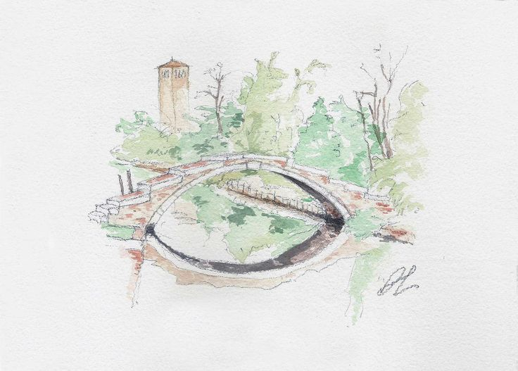 Ponte del Diavolo (Devil's Bridge)  Do you know the legend about Devil's Bridge on #Torcello #island? Learn more on  #venice #Venezia #legend #watercolor #italy