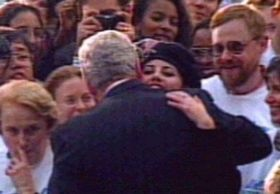 "1996 Intern Monica Lewinsky's affair with President Bill Clinton gives his political enemies the goods they need to begin impeachment hearings when he lies under oath about having ""sexual relations"" with that woman, Ms. Lewinsky.  She made the beret famous once again.  And cigars."