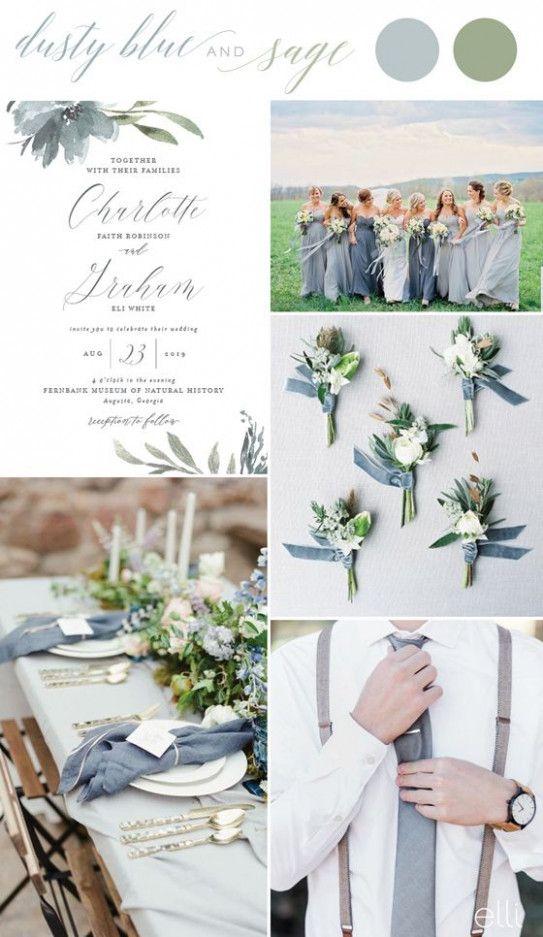 Dusty Blue und Salbei fallen Hochzeitsfarben Hochzeit Inspiration #SageGreen #AndFrenc …   – Wedding.
