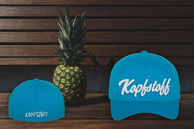 """Original Kopfstoff Baseballcap Royalblau mit 3D Stickerei """"Kopfstoff"""" in weiss"""