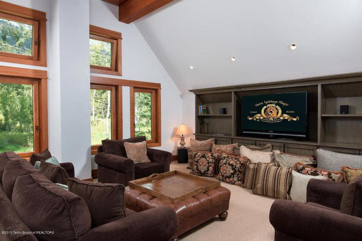 (43) tv room This is how the world's richest woman lives: Christy Walton's Wyoming estate is for sale