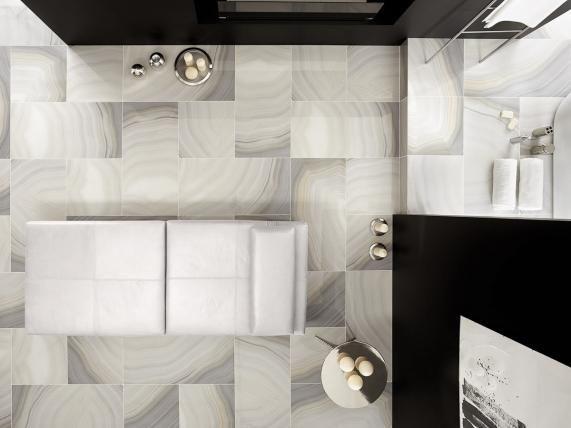 Paradyż - AGAT - podłoga w kuchni. Ciekawe ułożenie płytek prostokątnych i kwadratowych!