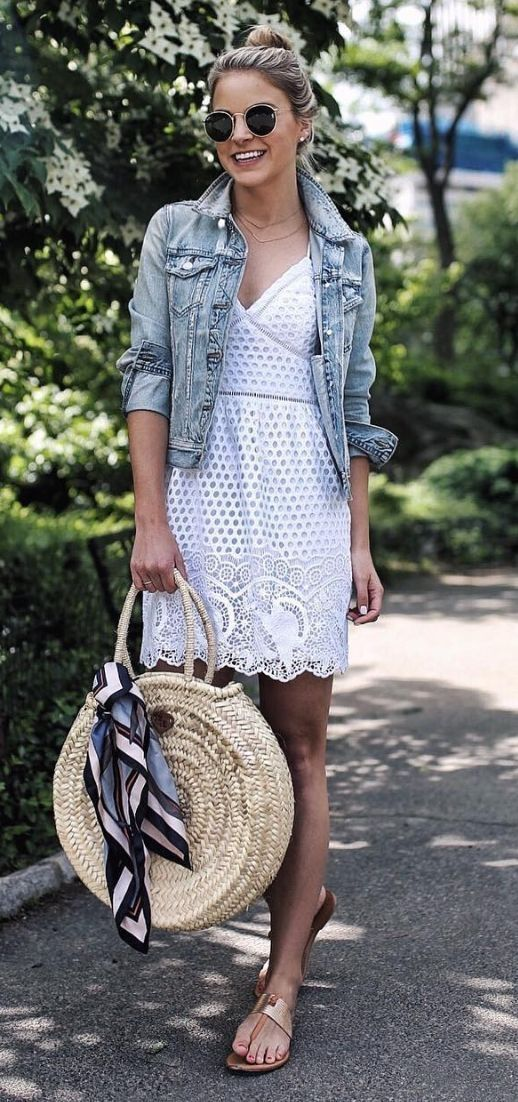 White lace dress + denim