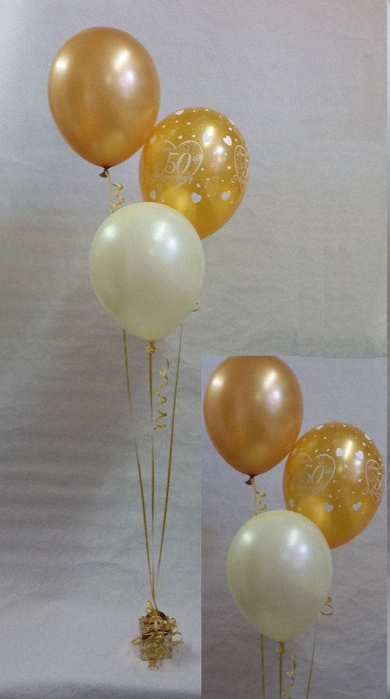 Best 25 50th wedding anniversary decorations ideas on pinterest 50th golden wedding anniversary balloon decoration display kit junglespirit Image collections