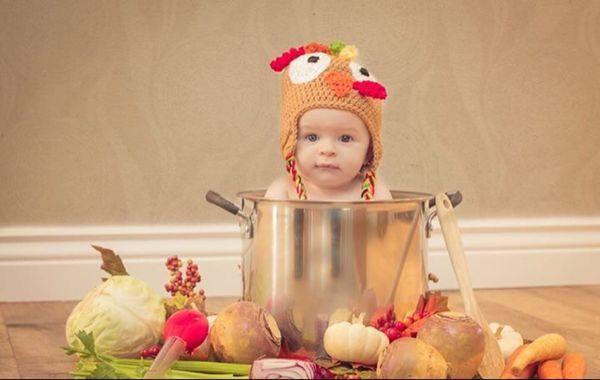 Baby's first Thanksgiving photo shoot.  #turkey #pot #dinner #celebrate #photography #idea