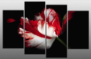 black, white & red wall decor | LARGE FLOWER CANVAS WALL PICTURE RED WHITE BLACK SPLIT | eBay