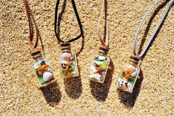 Small Glass Bottle Necklace filled with tiny seashell, sea glass,sand dollar and starfish. on Etsy, $7.50