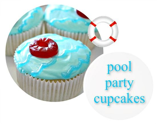 Pool party cupcakes for swimming themed birthday party