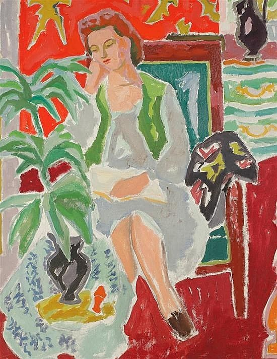 """Femme à la table basse (c.1947). Jean Jules Louis Cavaillès (French, 1901-1977). Oil on canvas. His artistic style is characterised by the juxtaposition of pure colour, derived from an interpretation of fauvist painting which was less interested in the early Fauve artists' search for intensity and dynamism than a simple expression of """"joie de vivre."""""""