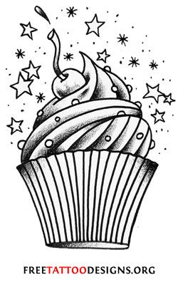 I love the old-school style, I would change the cupcake liner and the frosting swirls a bit, but other than that this is perfect for my cupcake tattoo