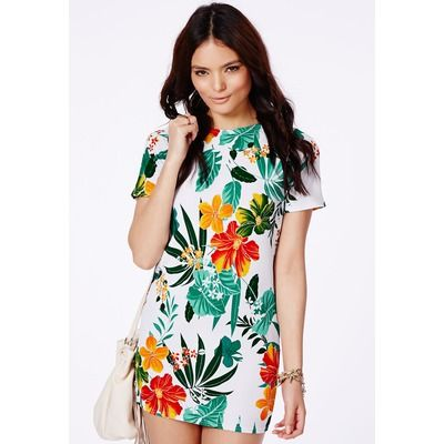 Missguided White Shift Dress In Tropical Print