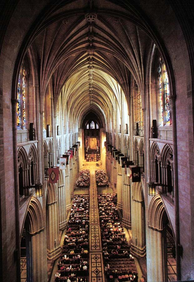 This is the interior of the National Cathedral in Washington D.C.  Built using classic Gothic design it is the tallest building in Washington D.C. and is the sixth largest cathedral in the world.