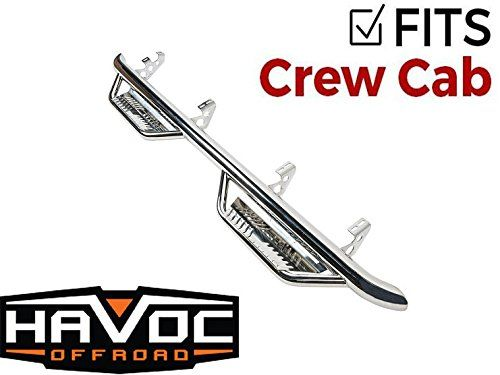 Havoc HS2 Polished Stainless Hoop Steps Chevy GMC Silverado Sierra 2007-2013 Crew Cab  The Havoc HS2 Steps were designed with the customer in mind. Tested and true, these bars dominate the competition.  The HS2 Steps are made from 1.8mm Stainless Steel tubing. This makes this product super strong and ready for any environment.  The Havoc HS2 Step provides a 4.75 inch step pad with raised slots to keep your foot planted. A bent outer edge and inner toe guard keep your foot on the step a...