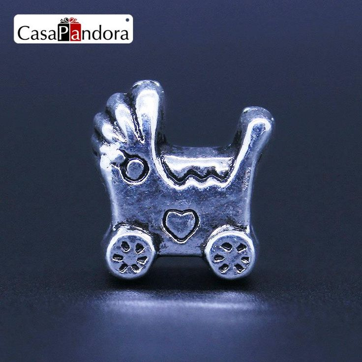 CasaPandora European Fashion 925 Plated Baby Car Stroller Baby Carriage Charm Fit Bracelet DIY Jewelry Making