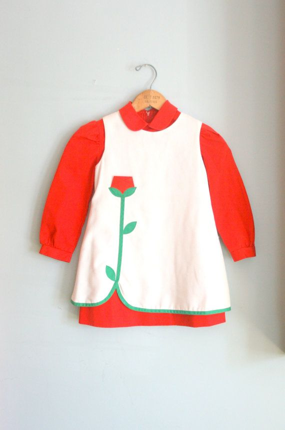 60s Vintage RED ROSE Florence Eiseman Girls by retroandme on Etsy, $42.00