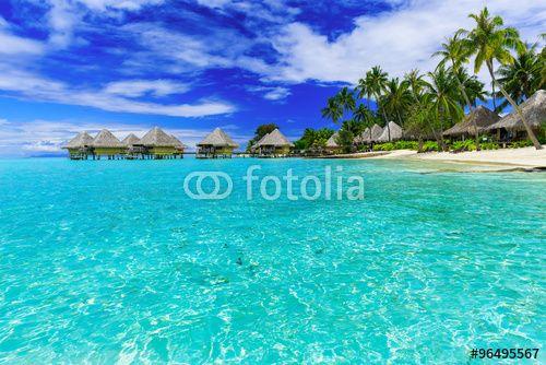 """Téléchargez la photo libre de droits """" Bora Bora, French Polynesia"""" créée par sorincolac au meilleur prix sur Fotolia.com. Parcourez notre banque d'images en ligne et trouvez l'image parfaite pour vos projets marketing !"""