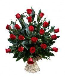 Cosuri de flori Cos 21 trandafiri rosii