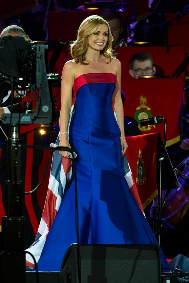 Singer Katherine Jenkins Wears A Dress Decorated With Union Jack To Perform At The Queens