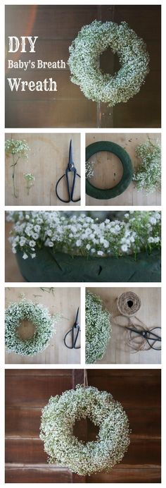 DIY Baby's Breath Wreath -- I'd love to make two of these for the front doors of the church :)