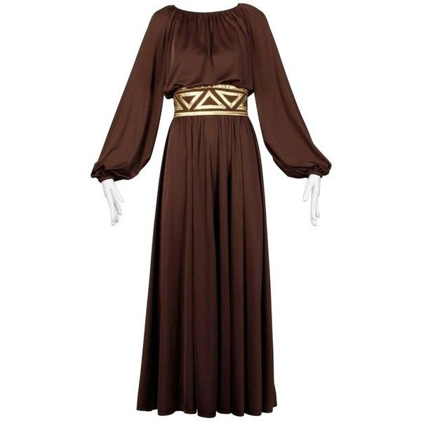 Preowned 1970s Rizkallah For Don Friese Ltd. Brown Grecian Jersey Knit... ($495) ❤ liked on Polyvore featuring dresses, brown, maxi dress, brown dress, jersey knit dress, pre owned dresses, jersey fabric dress and brown vintage dress
