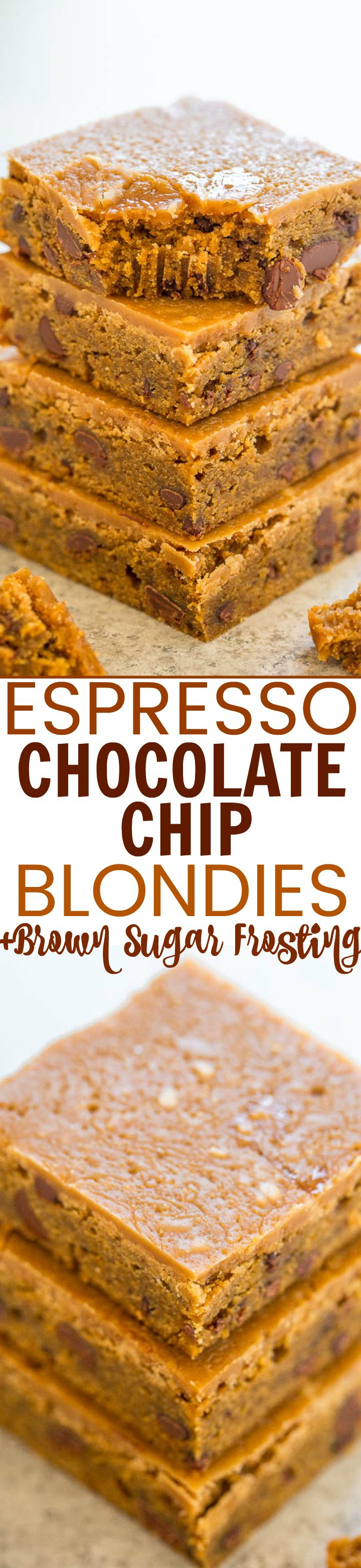 Espresso Chocolate Chip Blondies with Brown Sugar Frosting - EASY, chewy, super SOFT blondies infused with espresso and chocolate!! ENJOY your espresso in dessert form from now on! The brown sugar frosting is simply AMAZING!!