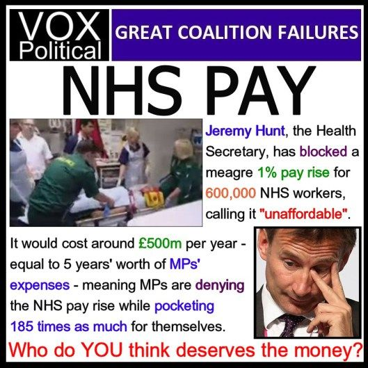"MPs take home 185 times the average NHS pay demand – in expenses.   odd that nobody made this connection earlier. NHS workers recently striked after Jeremy Hunt refused to implement a one % pay rise for 600,000 of them. He said it would cost an ""unaffordable"" £500 million.  Last month it was revealed that, between them, the UK's 650 members of Parliament claimed more than £100 million in expenses during 2013-14 – nearly three times the basic MP salary, each."