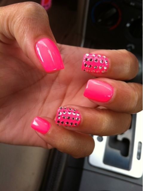 Pink nails with rhinestones :)